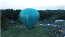 Drone photo of tethered hot air balloon on the Oval