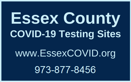 Essex County COVID-19 Testing Sites - light blue text on navy background. Phone #973-877-8456