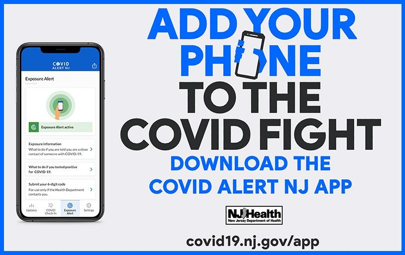 """Add your phone to the fight"" - graphic of smartphone showing NJ's COVID Alert mobile app"
