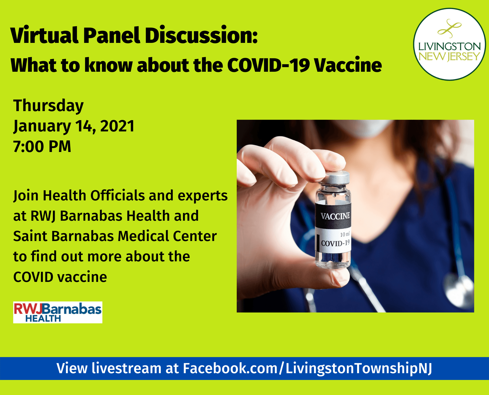 Virtual Panel Discussion on COVID-19 Vaccine on Thursday, Jan. 14, 2021 at 7 pm