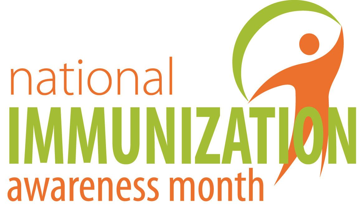 Logo with text &#34National Immunization Awareness Month&#34 and an orange human figure with a green