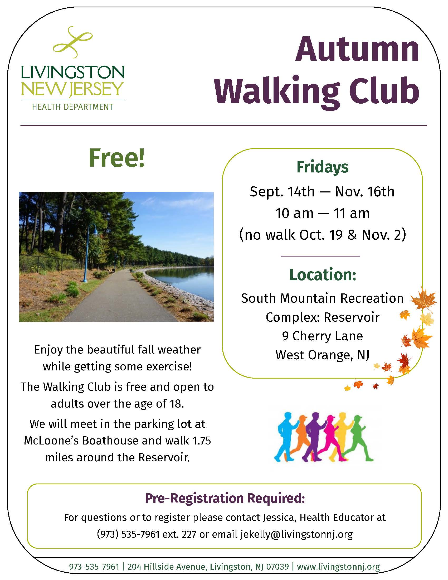 Program flyer for the Health Department&#39s Walking Club, meeting Fridays in Fall 2018. Details and