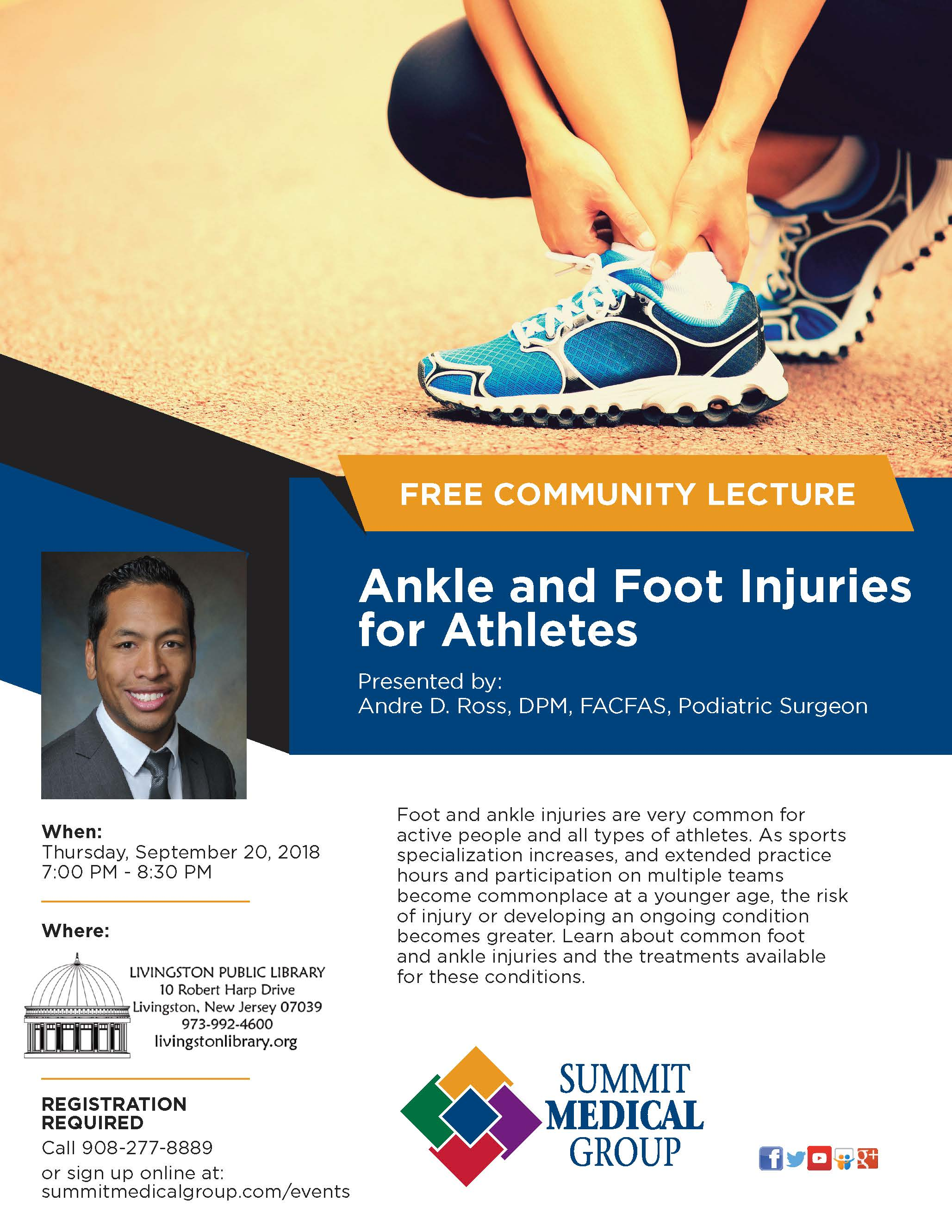 "Flyer for 9/20/18 Lecture at Livingston Public Library, presented by Summit Medical Group, ""Foot"