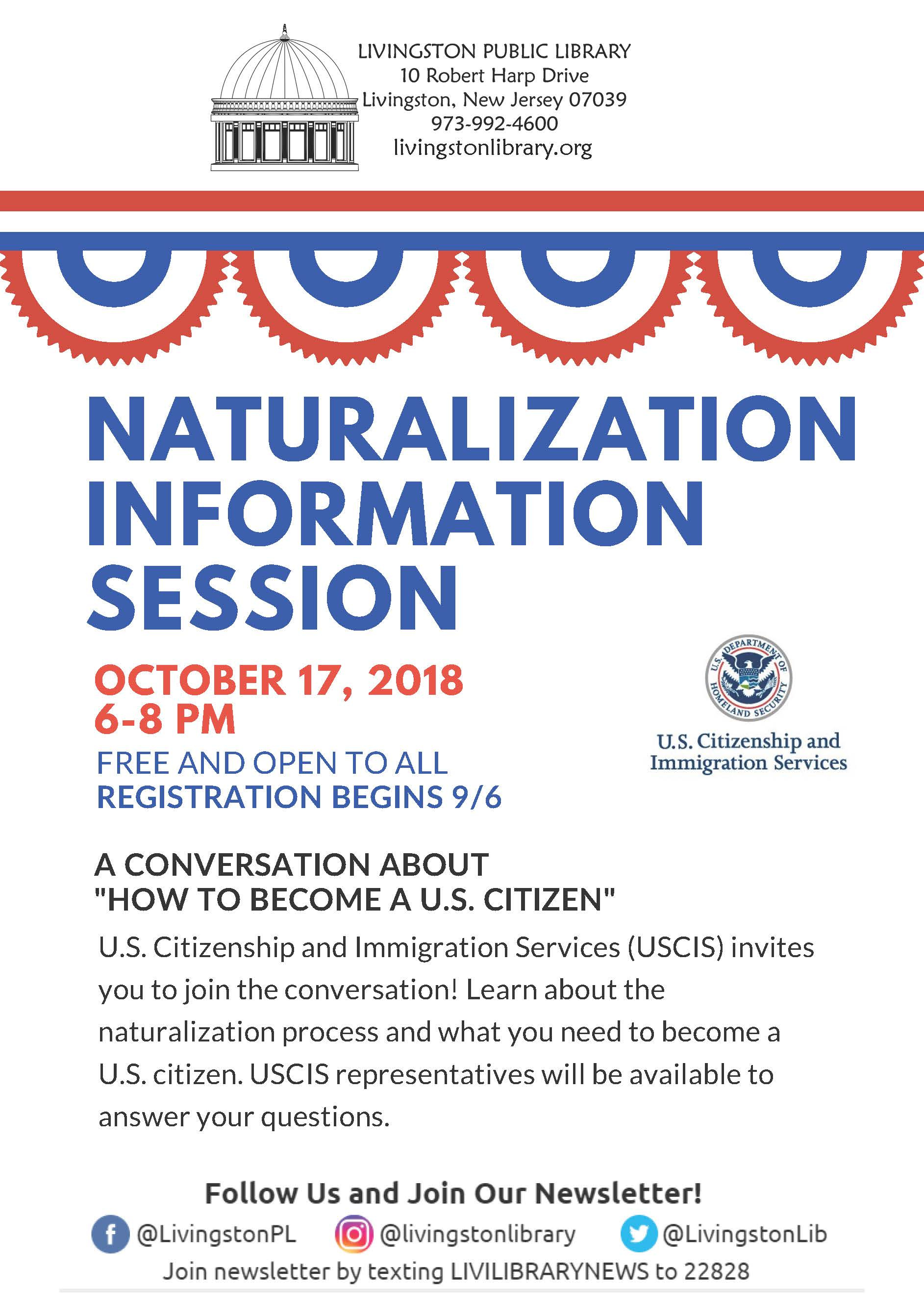 Flyer for the Naturalization Information Session on October 17, 2018 from 6 to 8 pm at the Livingsto