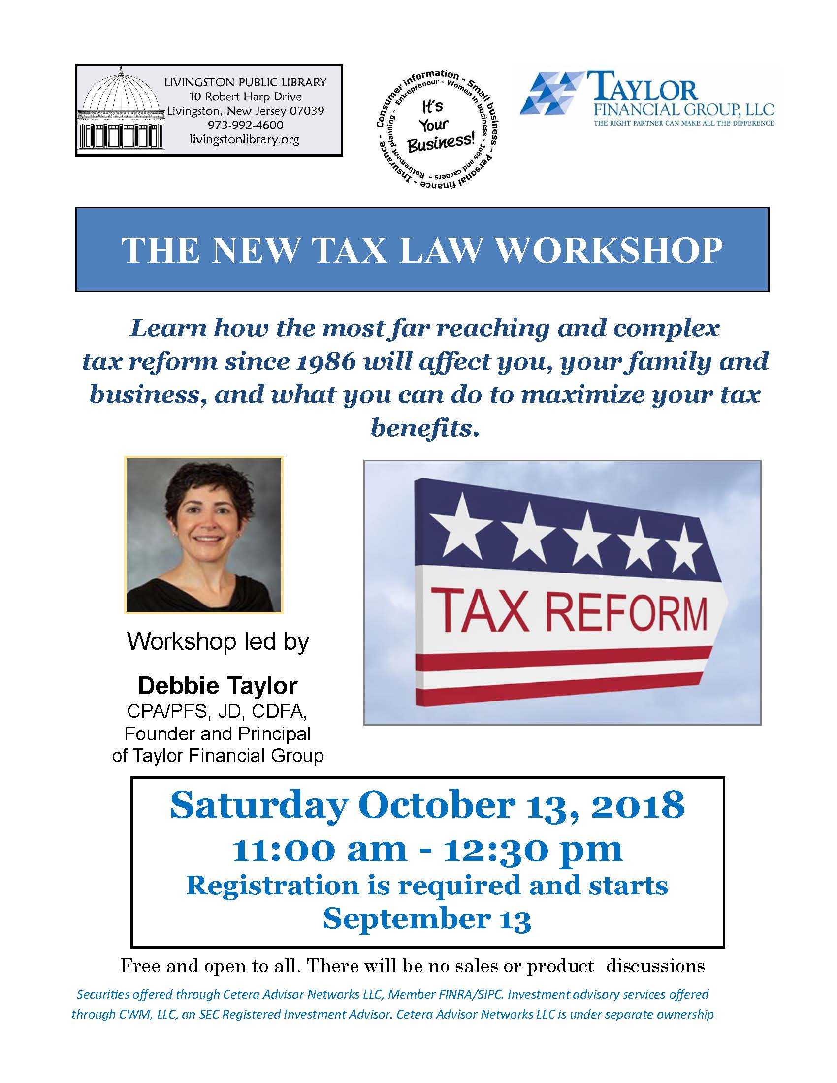 Flyer for New Tax Law Workshop @ Livingston Public Library on 10/13/18. Info @ livingstonlibrary.org
