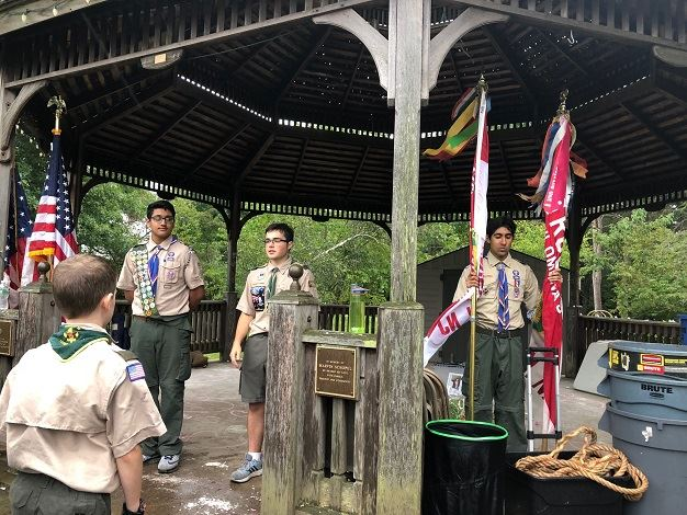 Livingston Boy Scouts leading Town-Wide Campout opening ceremony