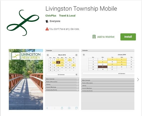 "Livingston Township Mobile preview and ""Install"" button in the Google Play Store"