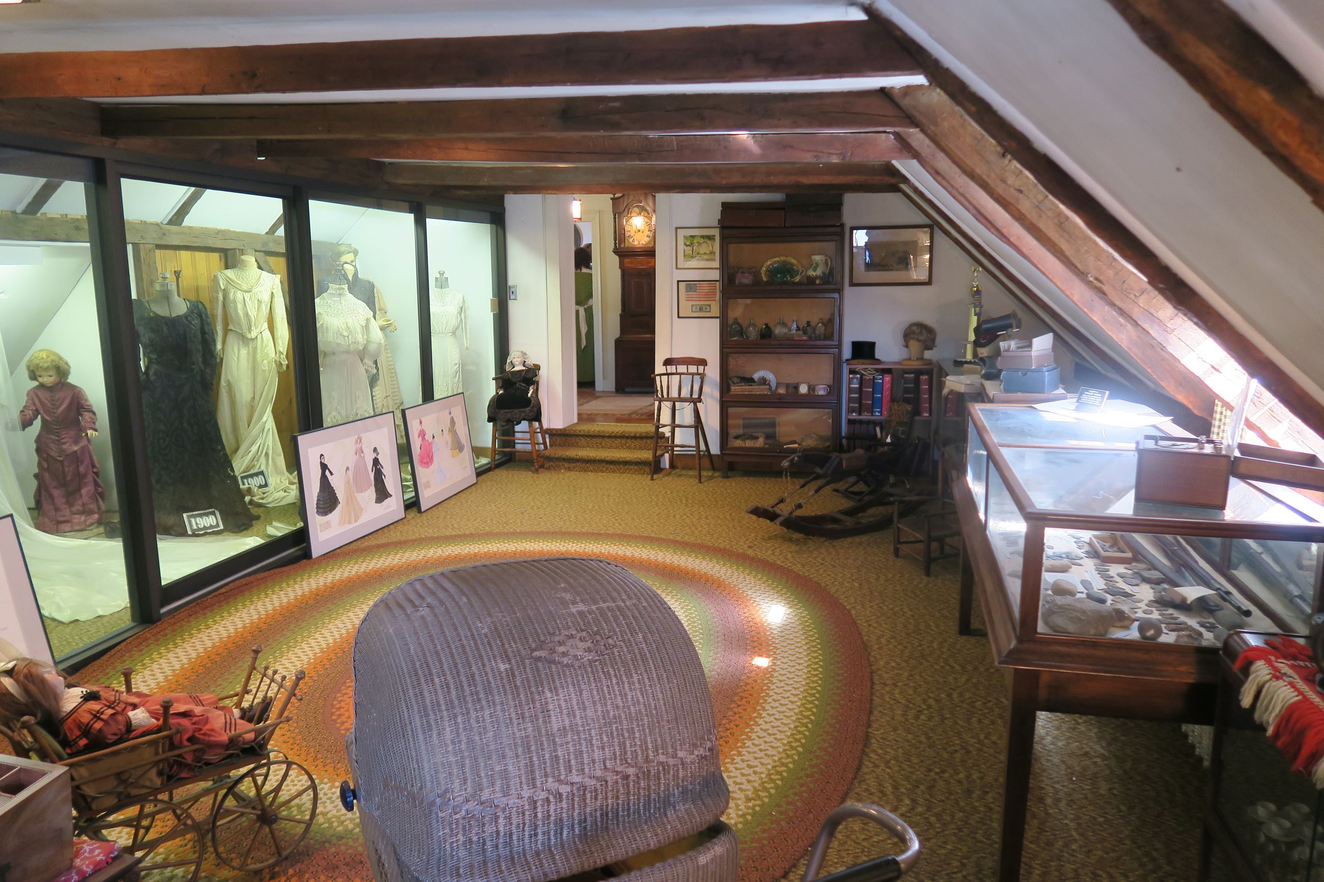 The Museum Room on the second floor of the Force Home houses a collection of wedding dresses from th