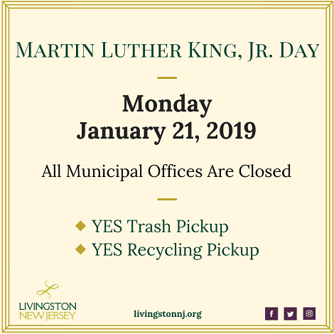 Livingston Township Offices closed 1/21/19 for MLK, Jr. Day. Garbage & recycling WILL be collected.