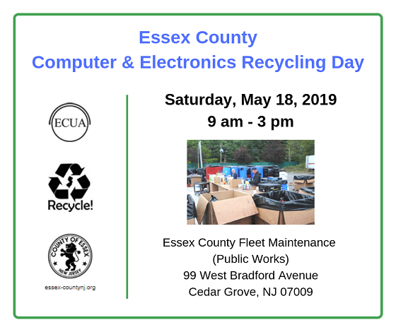 Info about Essex County Computer and Electronics Recycling Event on May 18, 2019. Details at http://