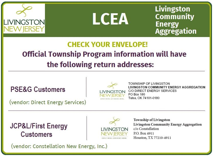 Image of Return Addresses on Energy Aggregation Program Envelopes