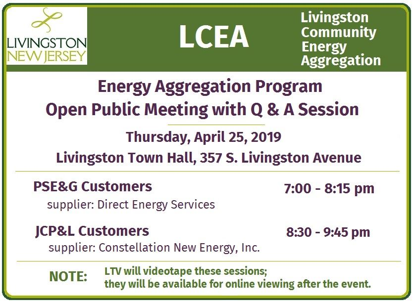 Energy Aggregation Public Mtg on April 25, 7 & 8:30 pm Flyer