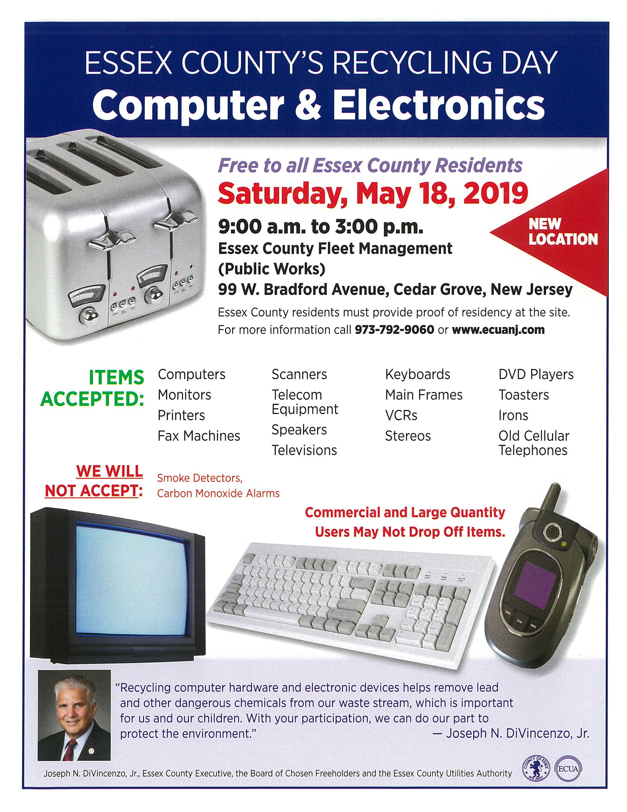 Flyer for Essex County Computer & Electronics Recycling Day, May 18, 2019. View www.ecuanj.com for d