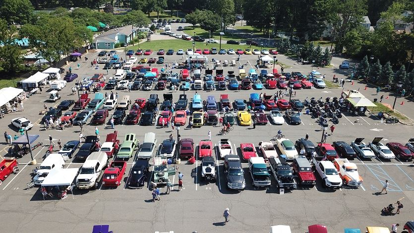 Aerial photo of cars in parking lot for Auto Show