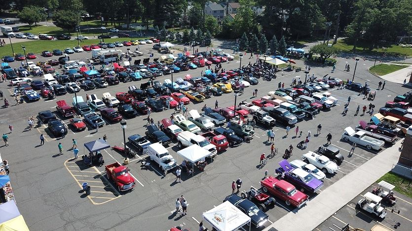 Aerial photo of cars in parking lot