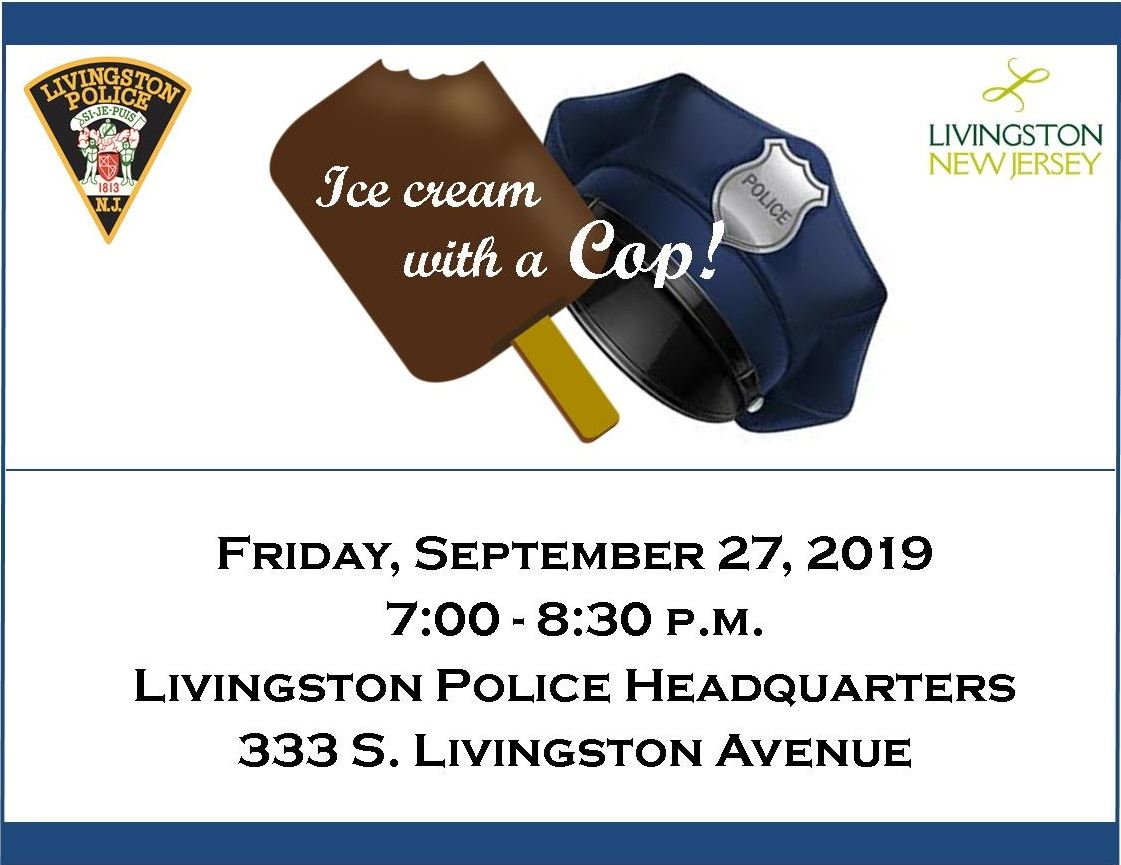 """Ice Cream with a Cop"" on chocolate ice cream bar and police hat. Friday, Sept. 27, 2019, 7-8:"