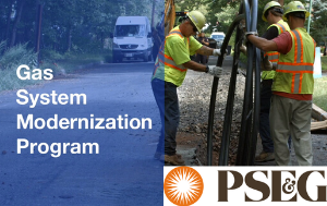 "Still from PSEG video showing workers replacing gas line and text ""Gas System Modernization Progr"