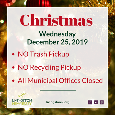 Christmas - Wednesday, 12/25/19 - Township offices closed, no garbage/recycling. Background: close-u
