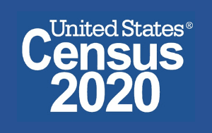 United States Census 2020 logo (white text on blue background)