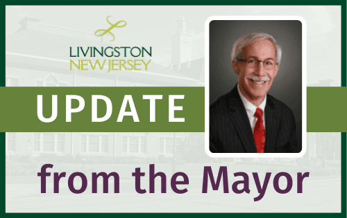 "Livingston NJ logo, ""Update from the Mayor"" banner with portrait photo of 2020 Mayor Rudy Fern"