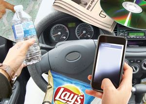 Driving with distractions from a phone, food, and more