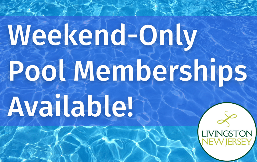 Weekend-only pool memberships available! Blue pool background. Livingston logo