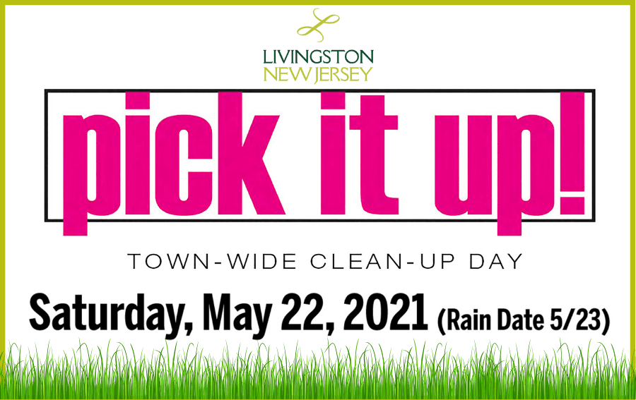 Pick It Up townwide cleanup day May 22, 2021 - text and grass image