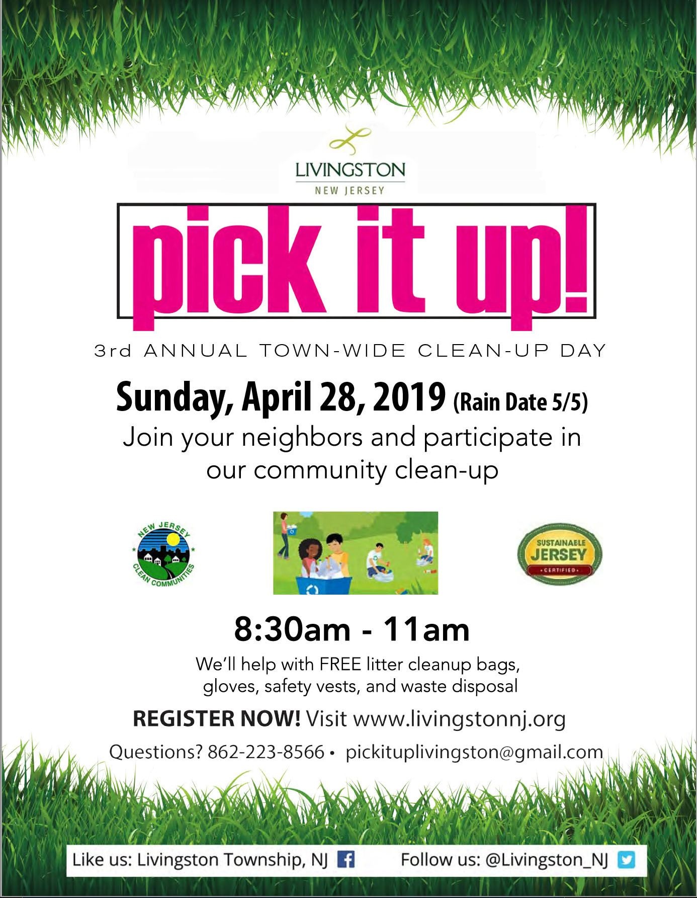 Image of flyer for Livingston&#39s annual Town-Wide Clean-Up event on April 28, 2019