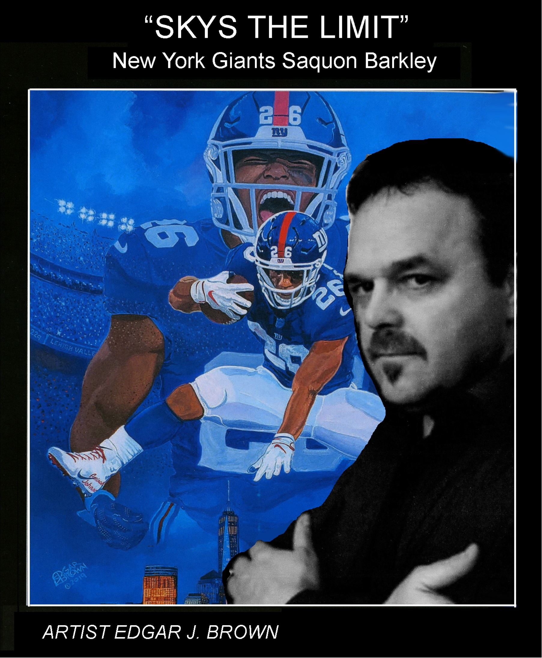 "Artist Edgar J. Brown shown with one of his prints: ""Sky's the Limit: NY Giants' Saquon Bar"