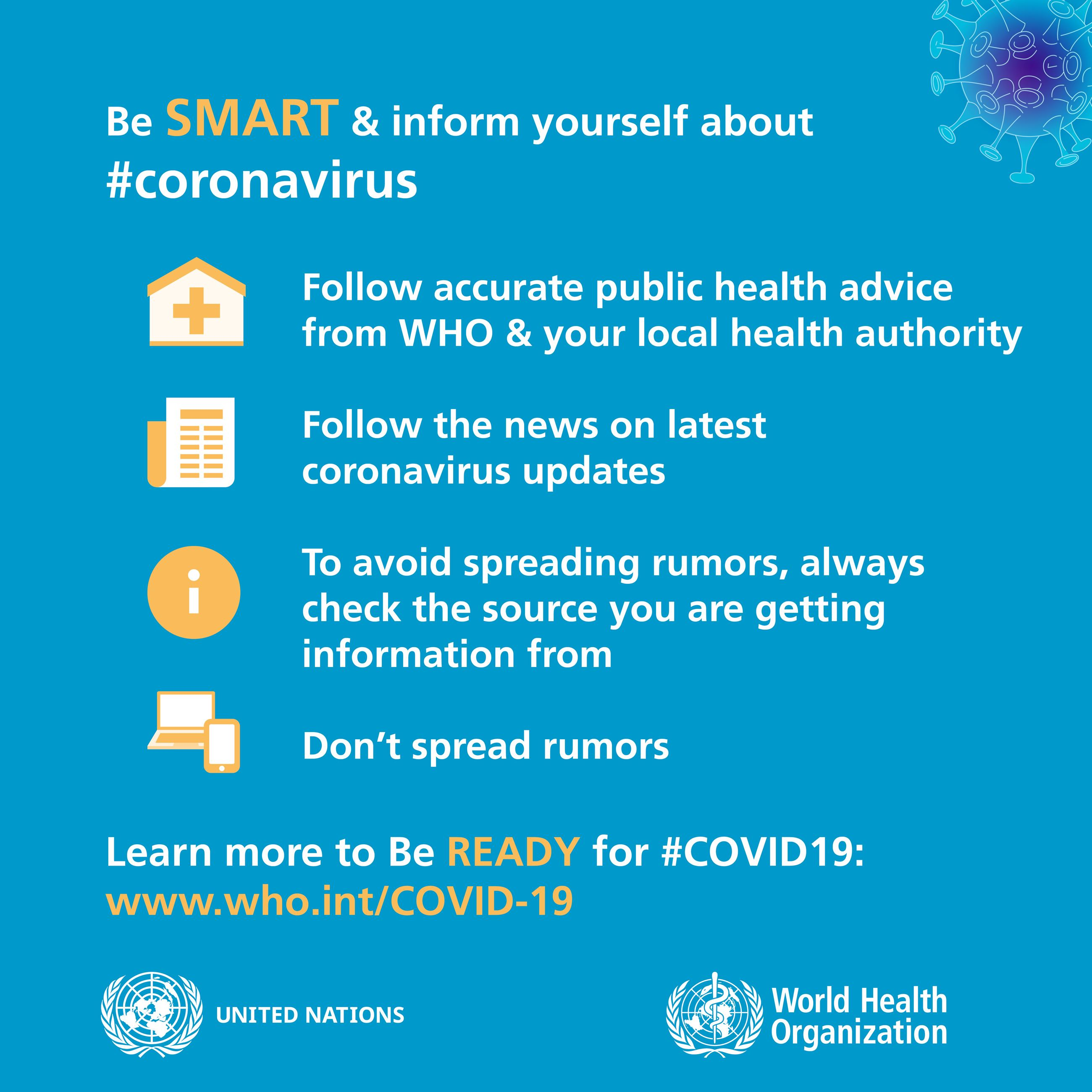 """Be SMART & inform yourself about #coronavirus"" - from who.int"