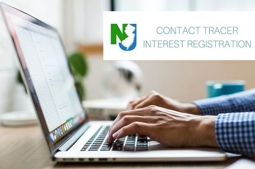 "Photo of person typing on laptop. NJ logo, ""CONTACT TRACER INTEREST REGISTRATION"""