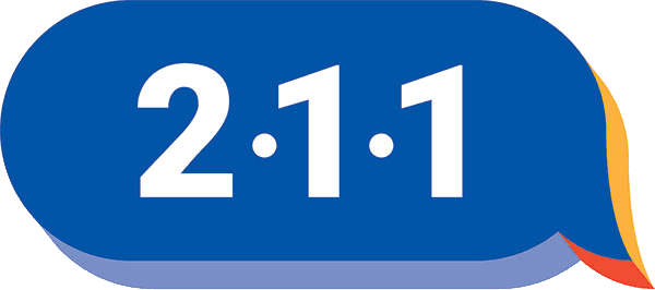 "Blue speech bubble with Ŗ-1-1"" in white"