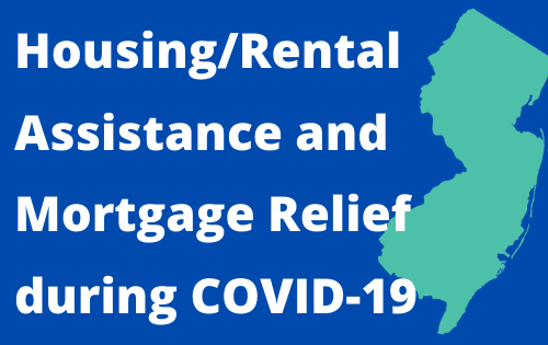 "Blue background, green shape of NJ, white text: ""Housing/Rental Assistance and Mortgage Relief du Opens in new window"